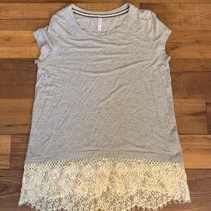 NEVER WORN! Beautiful lace bottom T-shirt